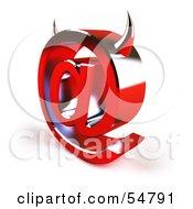 3d Devil Arobase At Symbol With Horns - Version 3