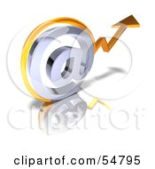 Royalty Free RF Clipart Illustration Of A 3d Arrow Graph Over An Arobase Symbol Version 1