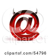 Royalty Free RF Clipart Illustration Of A 3d Devil Arobase At Symbol With Horns Version 4