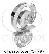 Royalty Free RF Clipart Illustration Of A 3d Chrome Arobase Symbol Version 1