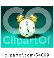 Royalty Free RF Clipart Illustration Of A 3d Brass Alarm Clock Version 3