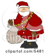 Santa Carrying Bag Of Toys Clipart Illustration