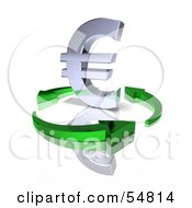 Royalty Free RF Clipart Illustration Of A 3d Chrome Euro Symbol Being Circled By Arrows Version 1