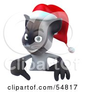 3d Siamese Pussy Cat Character Pointing Down To And Standing Behind A Blank Sign