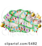 Funny Pig Decorated With Christmas Lights And Ornaments - Xmas Ham Concept