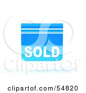 Royalty Free RF Clipart Illustration Of A Blue 3d Sold Sign Floating Version 4