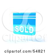 Royalty Free RF Clipart Illustration Of A Blue 3d Sold Sign Floating Version 6