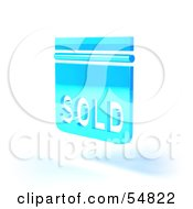 Royalty Free RF Clipart Illustration Of A Blue 3d Sold Sign Floating Version 5