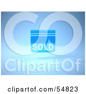 Royalty Free RF Clipart Illustration Of A Blue 3d Sold Sign Floating Version 1