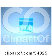 Royalty Free RF Clipart Illustration Of A Blue 3d Sold Sign Floating Version 2