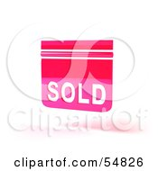 Royalty Free RF Clipart Illustration Of A Pink 3d Sold Sign Floating Version 2