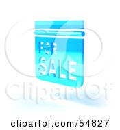 Royalty Free RF Clipart Illustration Of A Blue 3d For Sale Sign Floating Version 6 by Julos