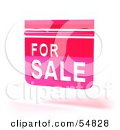 Royalty Free RF Clipart Illustration Of A 3d Pink Floating For Sale Sign Version 2