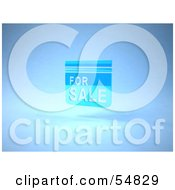 Royalty Free RF Clipart Illustration Of A Blue 3d For Sale Sign Floating Version 2 by Julos