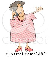 Woman Talking On A Cellphone Clipart Illustration by Dennis Cox