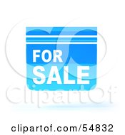 Royalty Free RF Clipart Illustration Of A Blue 3d For Sale Sign Floating Version 4 by Julos