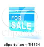 Royalty Free RF Clipart Illustration Of A Blue 3d For Sale Sign Floating Version 5 by Julos