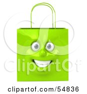 Royalty Free RF Clipart Illustration Of A 3d Green Shiny Smiling Shopping Bag Head by Julos