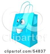 3d Blue Shiny Happy Shopping Bag Head by Julos