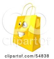 3d Yellow Shiny Happy Shopping Bag Head by Julos