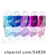 3d Row Of Blue And Purple Discount Shopping Bags Version 4 by Julos