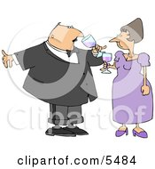 Husband And Wife Drinking Wine At A Party Clipart Illustration