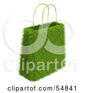 Royalty Free RF Clipart Illustration Of A 3d Green Eco Friendly Grass Shopping Bag