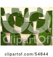 Royalty Free RF Clipart Illustration Of A 3d Crowd Of Green Grass Shopping Bags