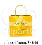3d Yellow Shiny Lonely Shopping Bag Head by Julos
