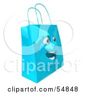 3d Blue Shiny Excited Shopping Bag Head by Julos