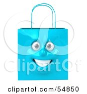 Royalty Free RF Clipart Illustration Of A 3d Blue Shiny Smiling Shopping Bag Head by Julos