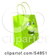 3d Green Shiny Excited Shopping Bag Head by Julos