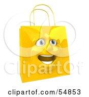 3d Yellow Shiny Ecstatic Shopping Bag Head by Julos