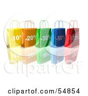 3d Row Of Colorful Discount Shopping Bags Version 1 by Julos