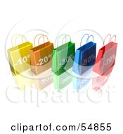 3d Row Of Colorful Discount Shopping Bags Version 2 by Julos