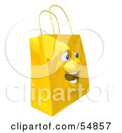 3d Yellow Shiny Excited Shopping Bag Head by Julos
