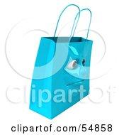 3d Blue Shiny Grumpy Shopping Bag Head by Julos