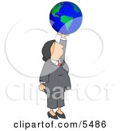Successful Businesswoman Holding The World In Her Hand Clipart Illustration