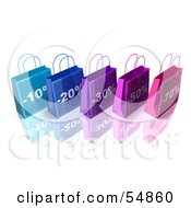 3d Row Of Blue And Purple Discount Shopping Bags Version 1 by Julos