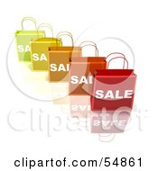 3d Row Of Colorful Sale Shopping Bags Version 2 by Julos