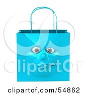 3d Blue Shiny Lonely Shopping Bag Head by Julos