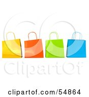 3d Group Of Colorful Shiny Shopping Bags by Julos