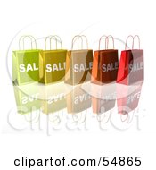 3d Row Of Colorful Sale Shopping Bags Version 3 by Julos