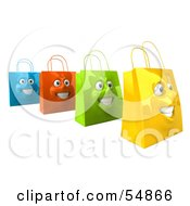 3d Group Of Four Grinning Colorful Shopping Bag Faces by Julos