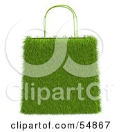 Royalty Free RF Clipart Illustration Of A 3d Grassy Green Shopping Bag by Julos