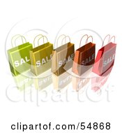 3d Row Of Colorful Sale Shopping Bags Version 1 by Julos