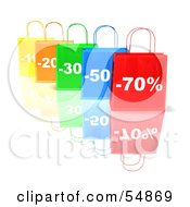 3d Row Of Colorful Discount Shopping Bags Version 3 by Julos