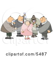 Obese Men And A Woman Drinking Wine At A Party Clipart Illustration