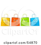 3d Group Of Four Grumpy Colorful Shopping Bag Faces by Julos