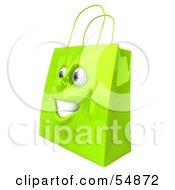 3d Green Shiny Happy Shopping Bag Head by Julos